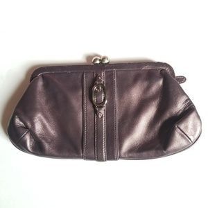 Cole Haan Sophia Metallic Purple Kiss Lock Clutch